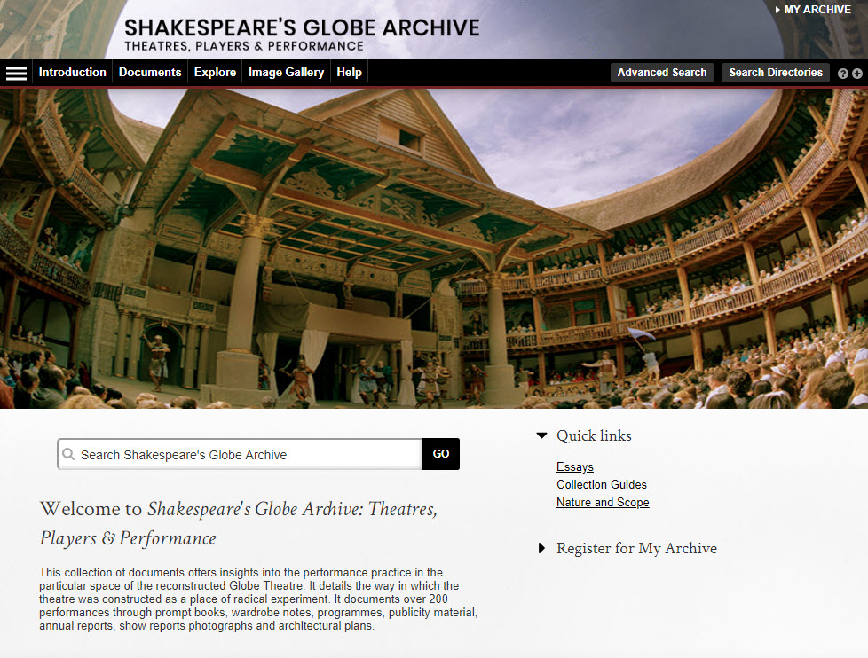 Screenshot of Shakespeare's Globe Archive home page.
